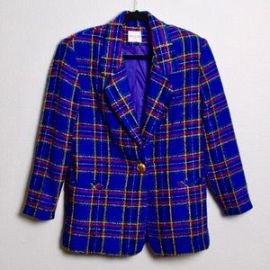 Vintage Plaid Tweed Boyfriend Blazer Jacket Blue